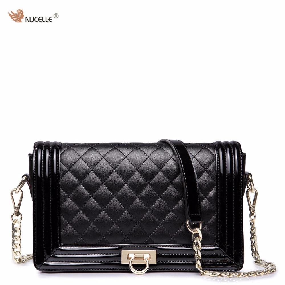 ФОТО NUCELLE Brand Design Noble Diamond Lattice Cow Leather Lock Women Ladies Girls Chains Shoulder Crossbody Flap Bag Black
