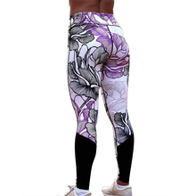 Women Sports Gym Leggings Fashion Sexy Flower Printing Yoga Pants Mujer Patchwork Fitness Running
