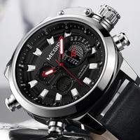 New MEGIR Watch Top Brand Luxury Men Digital LED Quartz Watches Movement Multifunction Waterproof Alarm Leather Wrist Watch 2019