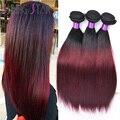 Mink 99J Ombre Brazilian Hair Bundles Brazilian Straight Hair Weave Thick 4 Pcs 1B 27 Ombre Virgin Hair Burgundy Brazilian Hair