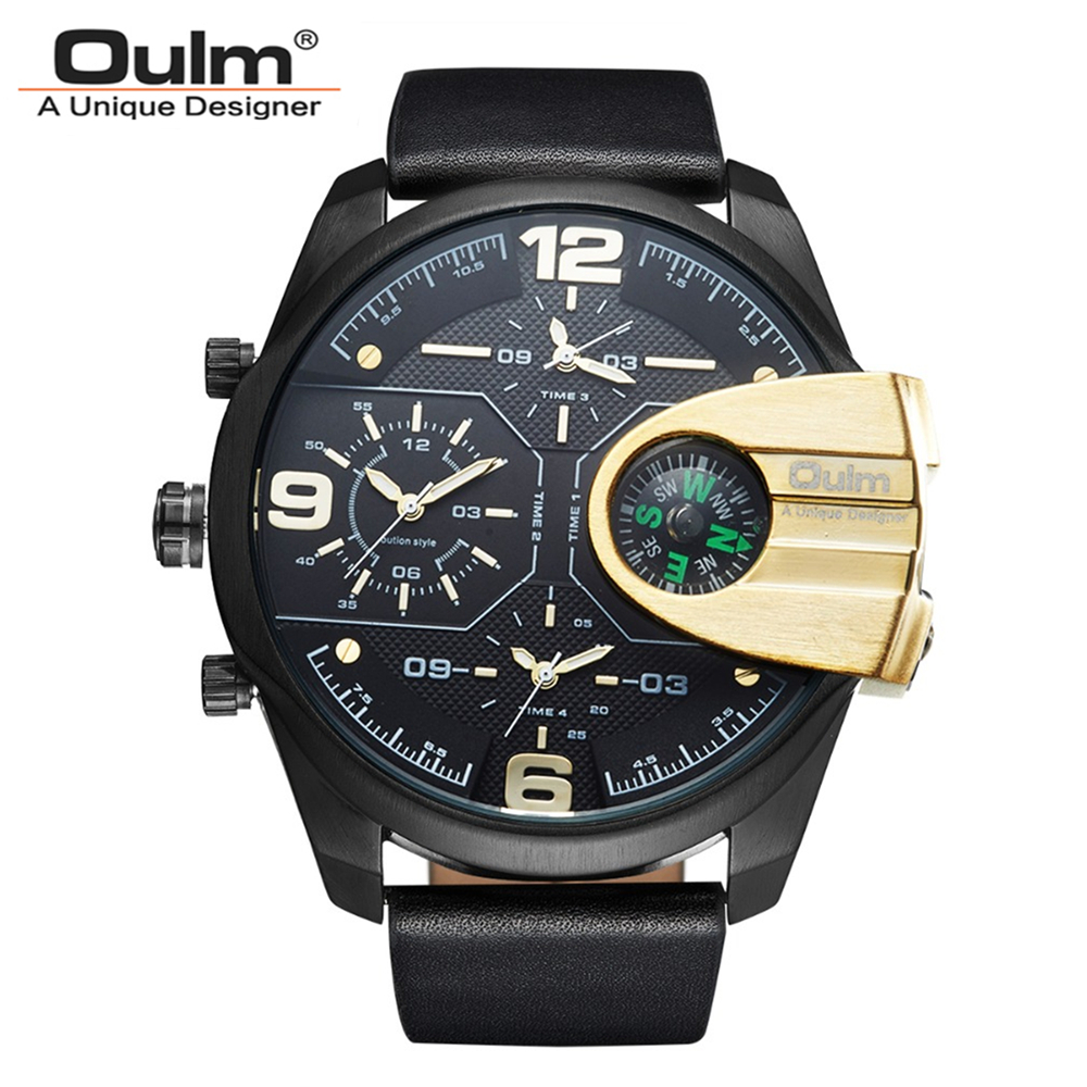 Oulm Brand Men PU Leather Band Zinc Alloy Case Quartz Watch Waterproof 3 Time zones Wristwatch With Compass For Decoration oulm brand vogue men leather strap quartz watch waterproof big dial alloy male wristwatch with 3 small dials for decoration