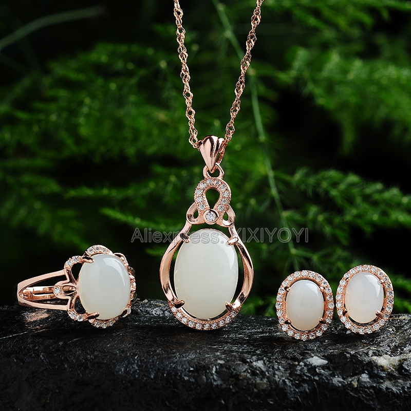 Elegant 925 Silver Natural White HeTian Jade Beads Inlay Gem Hollow Lucky Pendant Necklace Earring Ring Woman's Fine Jewelry Set 925 silver natural white white hetian jade beads inlay flower dangle lucky pendant necklace ring elegant woman s jewelry set