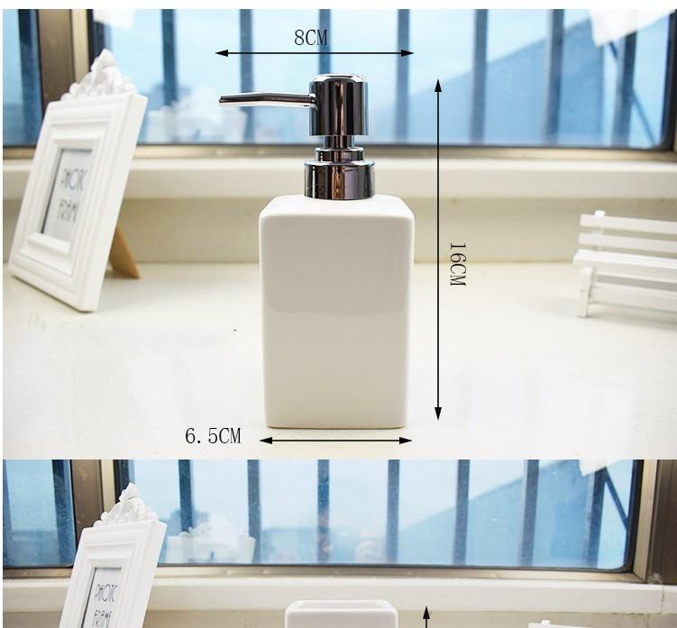 Image 3 - China Ceramic 2 pcs White Soap Dispenser for Kitchen Bathroom  Home Decoration Hand Sanitizer Bottle Cup Lotion BottleBathroom  Accessories Sets