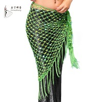 12 Colors Belly Dance Training Clothes Accessories Stretchy Long Tassel Triangle Belt Hand Crochet Belly Dance