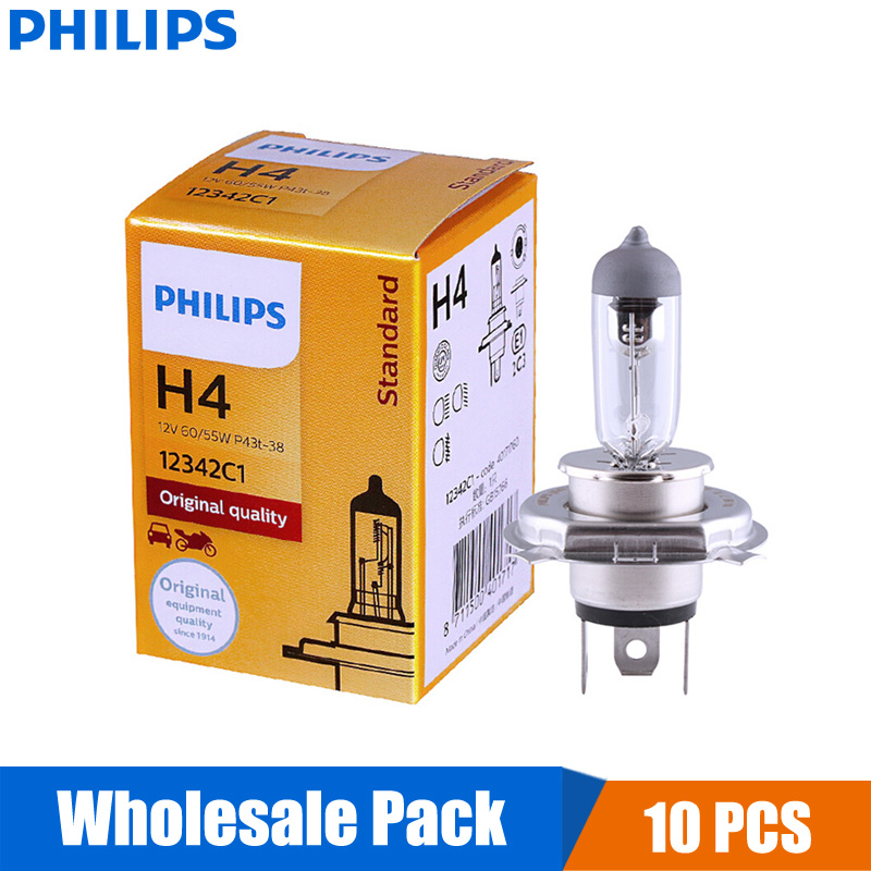 10PCS Philips Vision H4 12V 60/55W P43t 12342C1 +30% Bright Original Light Car Halogen Headlight OEM Auto Hi/lo Beam Wholesale