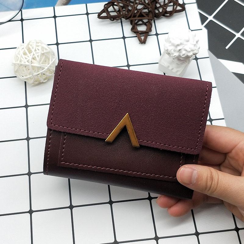 MINOFIOUS Matte Leather Small Women Wallet Brand Mini Womens Wallets PU Leather Short Letter Purse Credit Cards Money Mini Purse