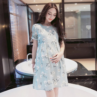 Brand Women Long Dresses Maternity Nursing Dress for Pregnant Women Pregnancy Women's dress Clothing Mother Home Clothes M 2XL
