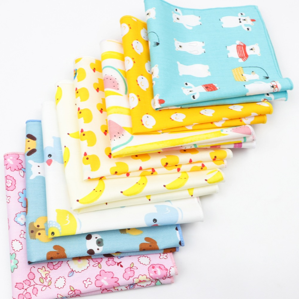 Men's Sunny Style Cotton Handkerchief Tartan Duck Dog Fruit Flower Pocket Square Kids Children Hankies Towel Casual 25*25cm