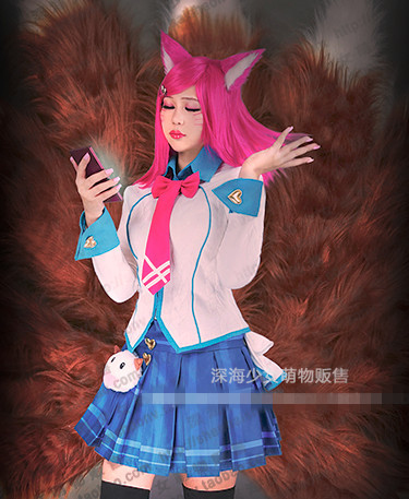 LOL Academy Ahri Cosplay Costume Halloween Uniform Outfit  Shirt+Tie+Skirt+Hairpin+