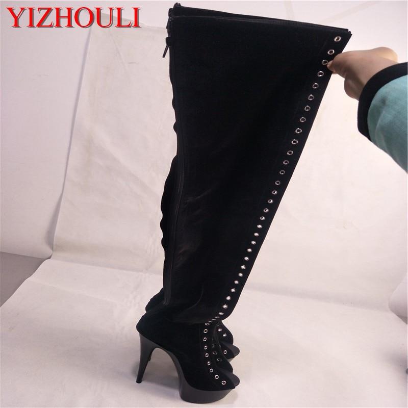15cm high heel formal dress thigh high boots ultra high heels 6 inch platform side of