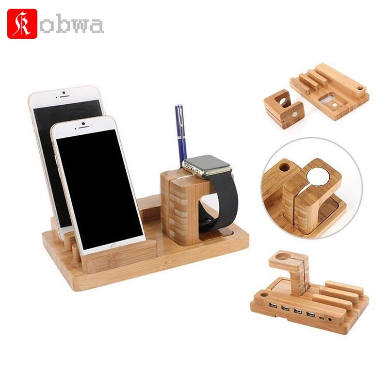 imágenes para Madera de bambú Soporte de Carga del soporte Organizador Del Sostenedor de la Horquilla Docking Station Con Micro HUB USB de 4 Puertos para el iphone inteligente reloj