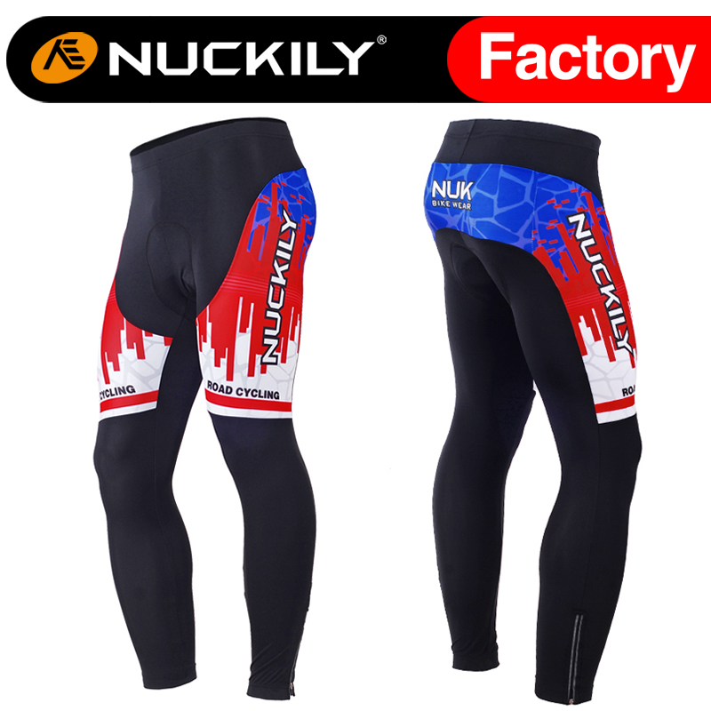 ФОТО Nuckily Winter Men's new design hot selling winter bicycle long fleece tights MF017