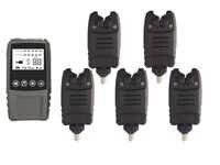 Envío Gratis 5 * alarma Digital resistente al agua y 1 * receptor de golpes táctiles conjunto de alarma de mordedura inalámbrica en funda para pesca de carpa