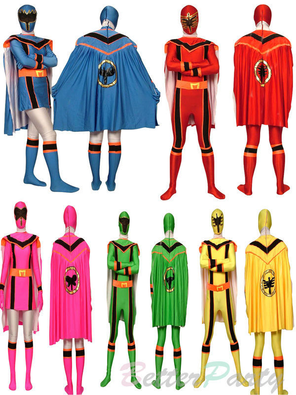 Super Sentai Maho Sentai Magiranger Costumes Spandex Lycra Full Body Red/Green/Blue/Pink/Yellow Ranger Suit