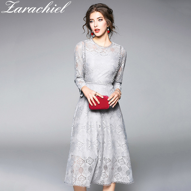 9d759d0b9122b US $21.67 20% OFF|2019 Spring Summer Lace Dress Fashion O neck Sexy Hollow  Out Grey Khaki Dresses Women Work Casual Slim A line Vintage Vestidos-in ...