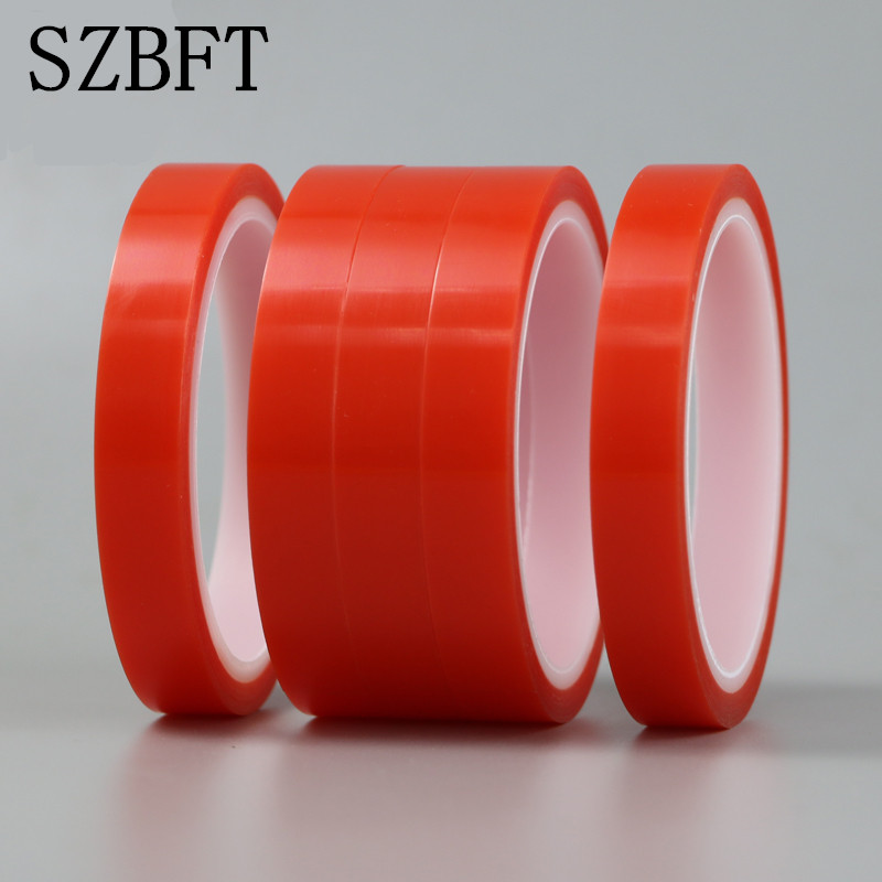 SZBFT 2rolls 2mm*5M Strong Pet Adhesive PET Red Film Clear Double Sided Tape No Trace For Phone LCD Screen Free Shipping