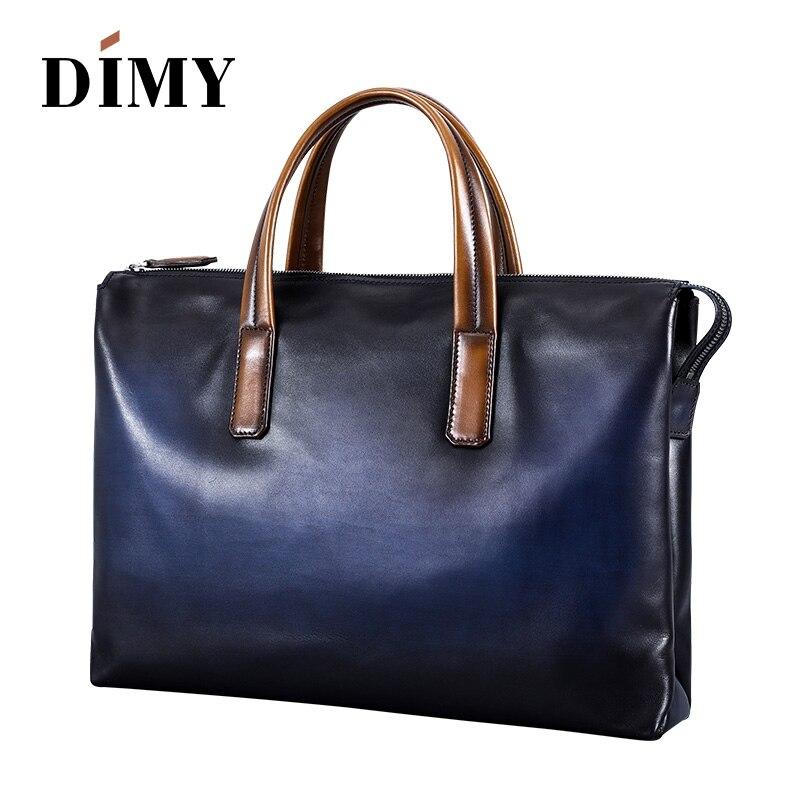 DIMY Handmade Italian Genuine Leather Briefcase Men Business Case OL Style Hand Patina Messenger Shoulder Bags Laptop Men's Bags