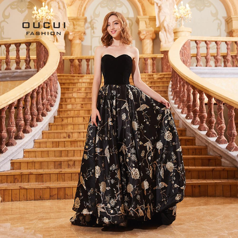 Newest Sweetheart Sleeveless Sexy Robe De Soiree Embroidery Flowers Black Turkish Kaftan Vestido Formal Evening Gowns