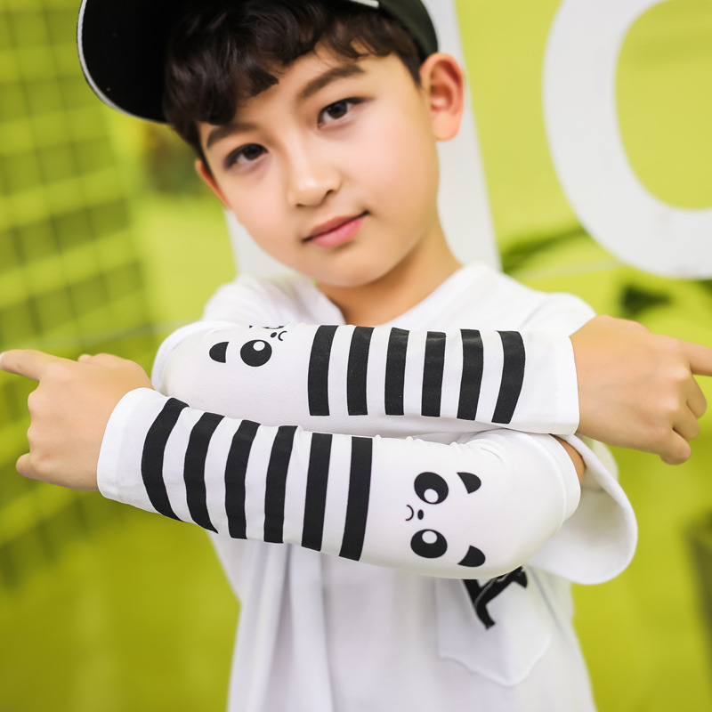 Children's Tattoo Ice Sleeves Sunscreen Gloves Girl And Boy's Summer Thin Mitts Arms Baby Kids Cartoon Printing Ice Silk Sleeve