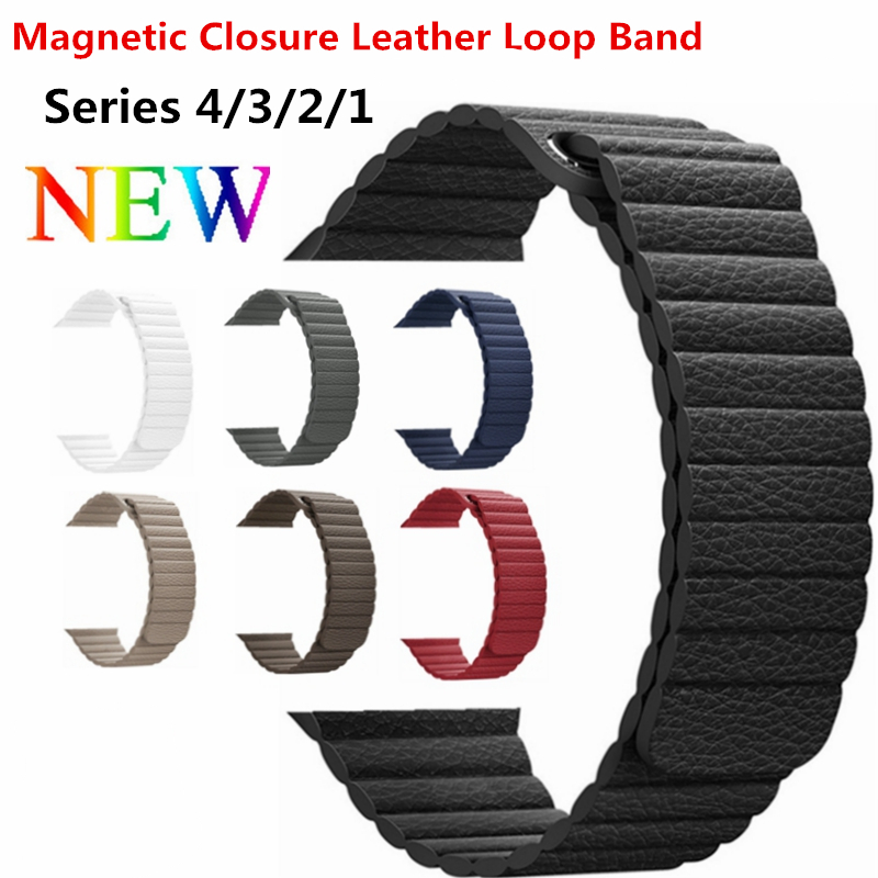 Genuine Leather Loop Band for Apple Watch Band 40mm 44mm Strap Bracelet for iWatch Series 1/2/3/ 4 Adjustable Magnetic Closure leather loop band for apple watch series 3 2 adjustable magnetic closure loop strap watchband for apple watch 42 38 40 44mm ba