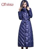 OMLESA 2018 новая зимняя куртка пуховик Для женщин плюс длинное пальто Верхняя одежда с капюшоном толстые теплые Внешний пальто тонкий куртка с