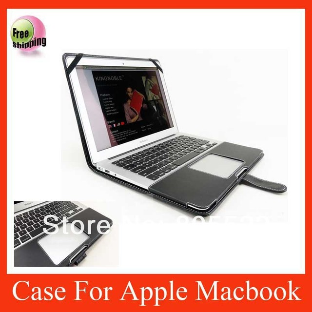 On sale high quality slim leather cover case for Macbook air  black color free shipping