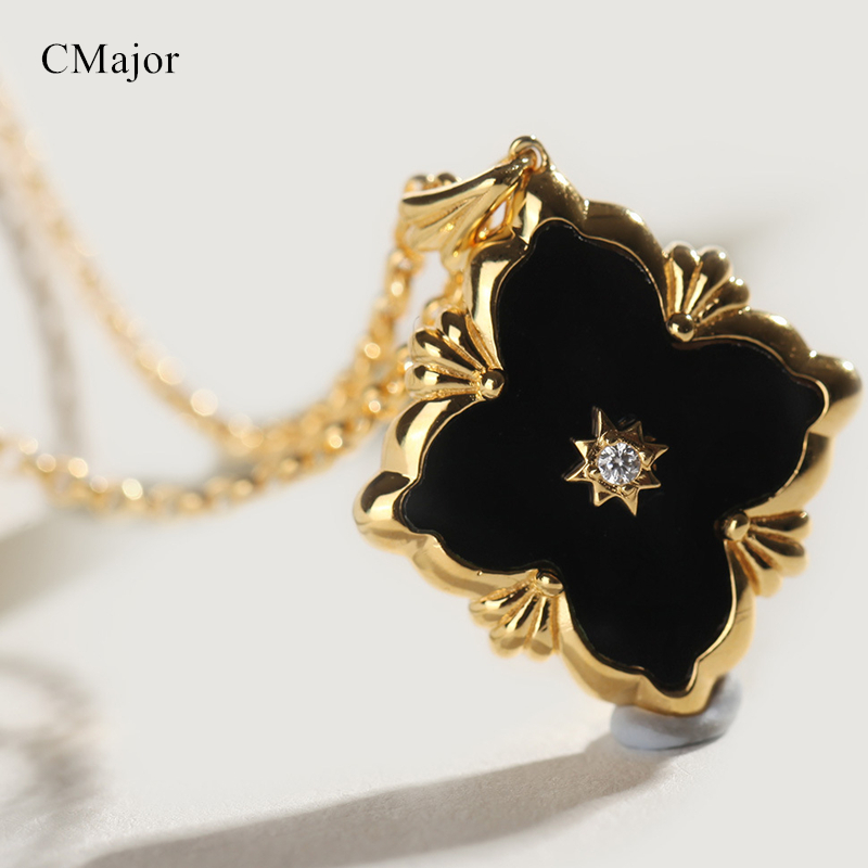 Cmajor Pure Silver Jewelry Palace Vintage Luxury Four-leaf Clover Pendant Necklaces For Women For St. Patrick's Day equte women s vintage double birds four leaf clover style weave bracelet white blue