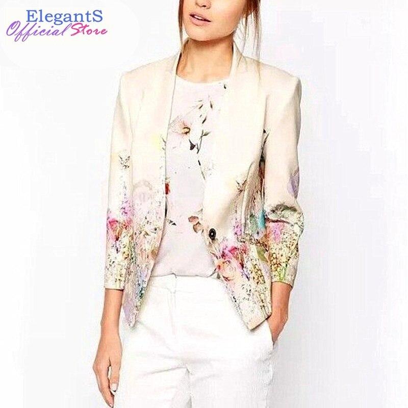2018 New Women Floral Blazer Elegant Single Breasted Flower Print Blazers Casual Jacket Female Office Work Suits Blazers XL Coat