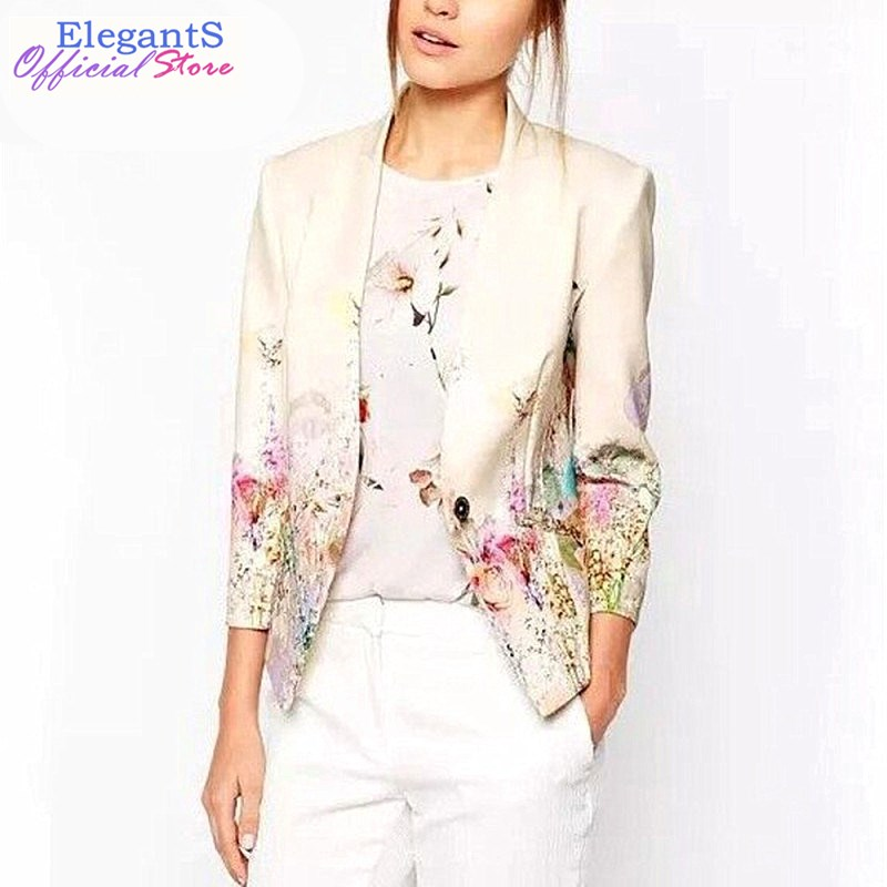 2018 New Women Floral Blazer Elegant Single Breasted Flower Print Blazers Casual Jacket Female Office Work Suits Blazers XL Coat