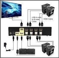 อัลลอยUSB HDMI KVM Switch 4 Portรถยนต์สแกน1080จุด3D,จอคอมพิว