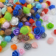 50pcs/lot 3.5cm Mini PE Foam Rose Artificial Flowers Heads DIY Handmade Wreath for Wedding Home Decoration Supplies foam rose