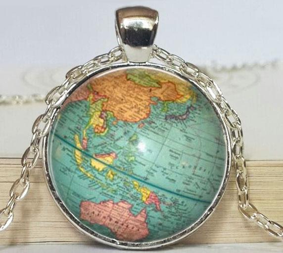 Round Globe Map.New Vintage World Map Pendant Round Globe Necklace Teacher Gift