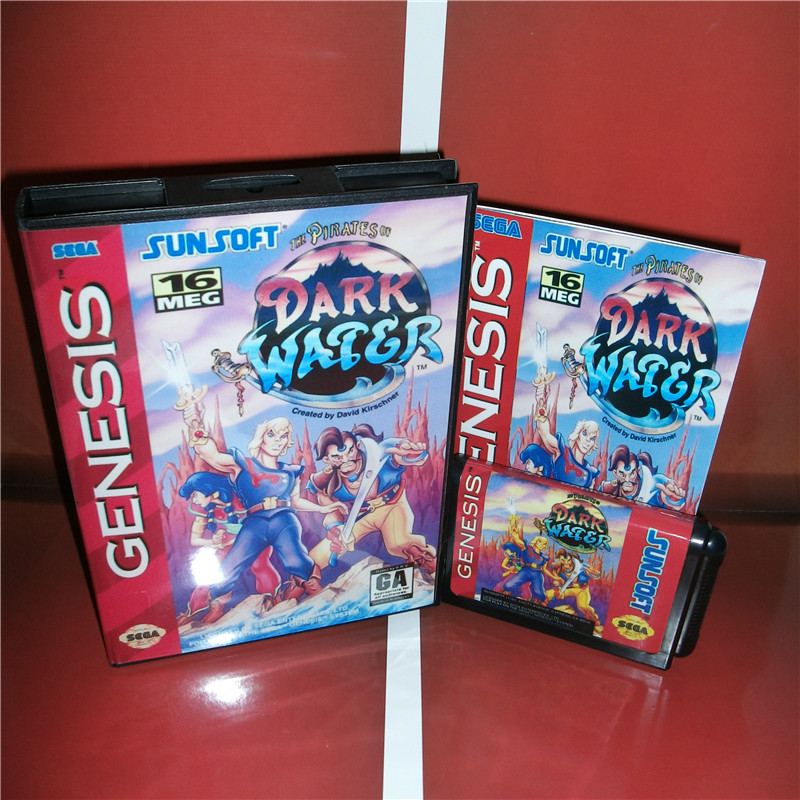 Dark Water US Cover with Box and Manual For Sega Megadrive Genesis Video Game Console 16 bit MD card
