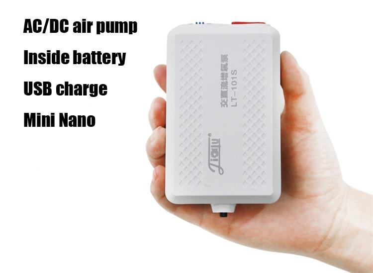 110v ~ 240v AC-DC bomba de ar do aquário USB bateria de carga dentro única saída dupla com pedra de ar e tubo de ar батарейки заряжаемые por usb