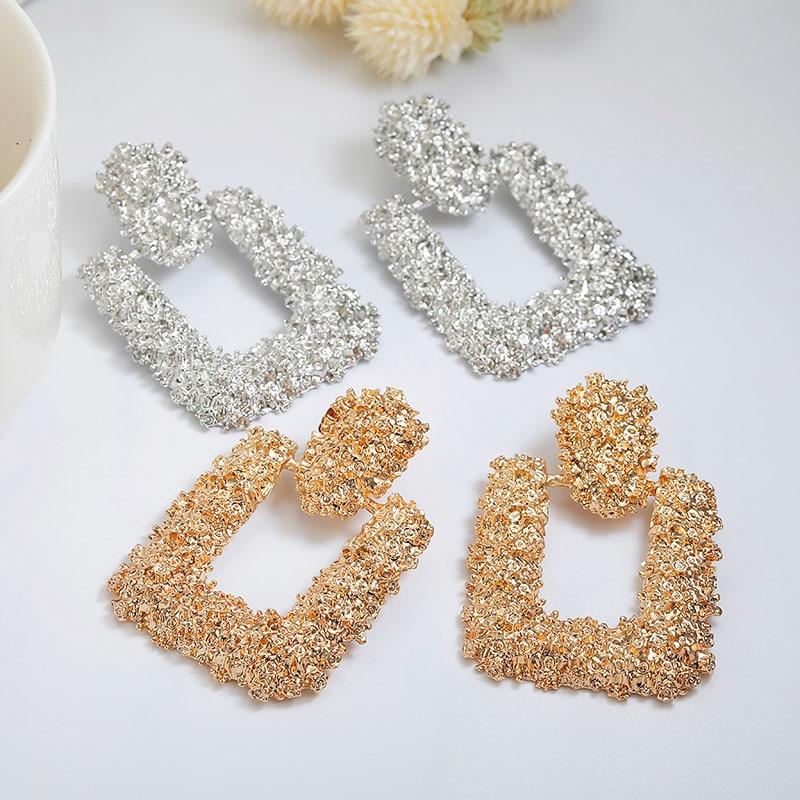 Vintage Earrings For Women Gold Color Geometric Statement Earring 2018 Texture Metal Drop Earing Hanging Fashion Jewelry|Drop Earrings|   - AliExpress