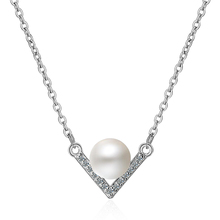 Charm Lady Pearl Zircon Pendant Necklace For Women Jewelry Vintage 925 Sterling Silver Girls Princess Accessories