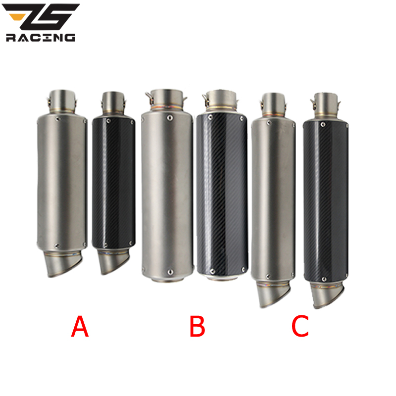 ZS Racing 51mm Motorcycle Exhaust Muffler SC GP Escape Exhaust Mufflers Carbon Fiber Exhaust Pipe For Z1000 Z750 Z800 NINJA250 zs racing 51mm real carbon fiber motorcycle exhaust pipe motocross muffler with db killer cb400 cbr for kawasaki z800 z750 er6r