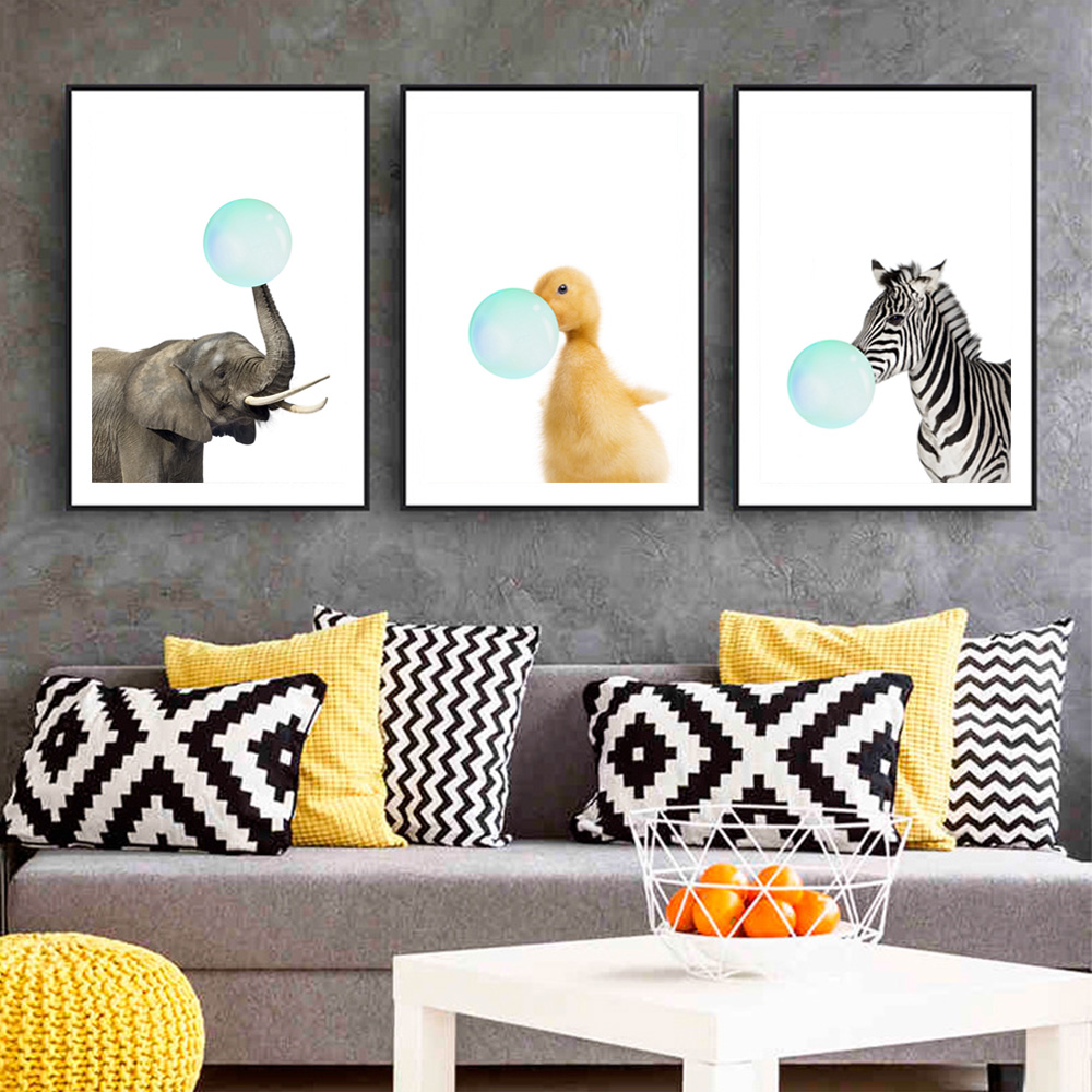 Oil-Painting Balloon Frame Decorative Small Nordic Simple Fresh Animal Blowing Children's-Room