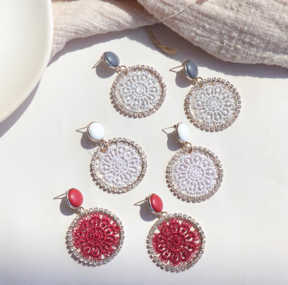 AOMU 2019 corée nouveau cuir bouton rond cristal dentelle fleur géométrique cercle longue goutte boucles d'oreilles pour les femmes étudiant fille cadeau 2