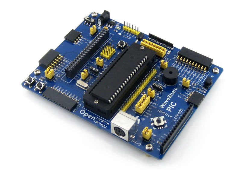 Waveshare Open18F4520 PIC development board designed for PIC18F series features the PIC18F4520 MCU peripheral expansions board pic microcontroller development board the experimental board pic18f4520 including pickit2 programmers excluding books