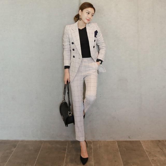 2017 Autumn Plaid Two Piece Women Beige Lapel Coat And Trousers 2 Piece Set Office Style Women's Suits