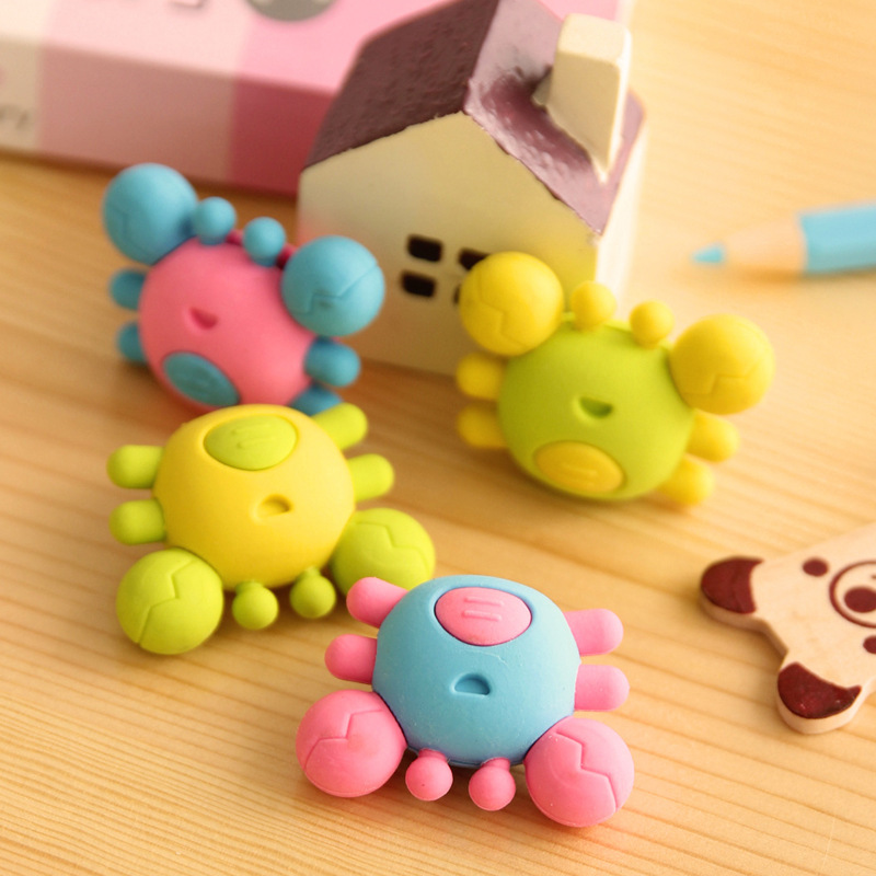 1pc Cute Animal Cartoon Crab Rubber Eraser Diy Kawaii Pencil Eraser For Kid's Promotion Gift Stationery Wholesale