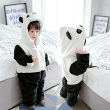 Baby Winter Panda Rompers Children Kids Jumpsuits Boys Girls Thicken Cotton & Flannel Fleece Romper Climbing Clothes
