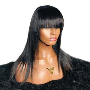 Image 4 - 13х4 прямые парики из натуральных волос на кружеве с челкой, предварительно выщипанные бразильские человеческие волосы Remy с бахромой 8 24 для женщин 180%