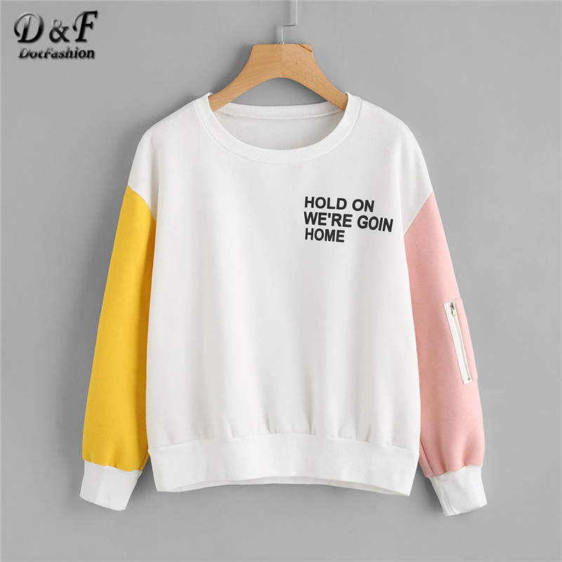 Dotfashion Letter Zipper Contrast Sleeve Slogan Print Sweatshirt Women Preppy Autumn Long Sleeve Pullovers Spring Multicolor Top
