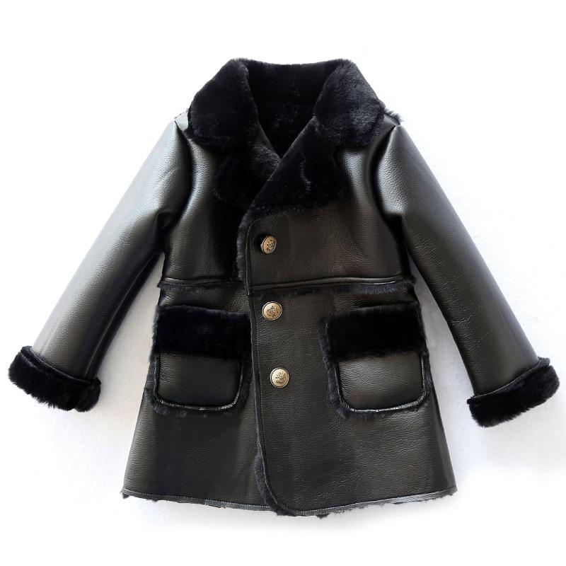 Children's Unisex Faux Fur Clothing 2018 Girls and Boys Faux Leather Jackets and Outerwear Kids Winter Patchwork Faux Fur Coats недорго, оригинальная цена
