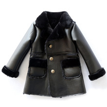 Children's Unisex Faux Fur Clothing 2019 Girls and Boys Faux Leather Jackets and Outerwear Kids Winter Patchwork Faux Fur Coats