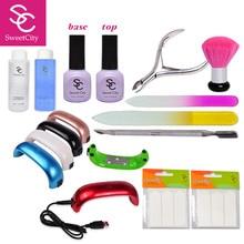 New Arrival 2016 Hot Summer Professional Soak-off Gel polish 9w Uv Gel Lamp Nail Art Tools Sets Kits Manicure With Free Gift
