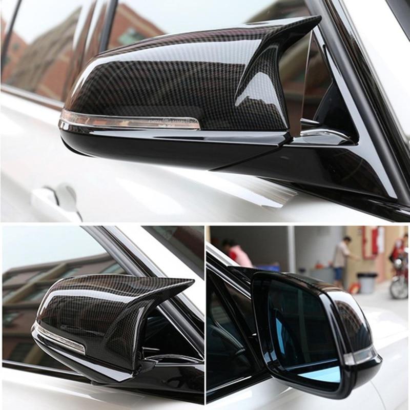 Pair Carbon Fiber Car Rear View Mirror Cover Cap For BMW F20 F22 F30 F31 F32