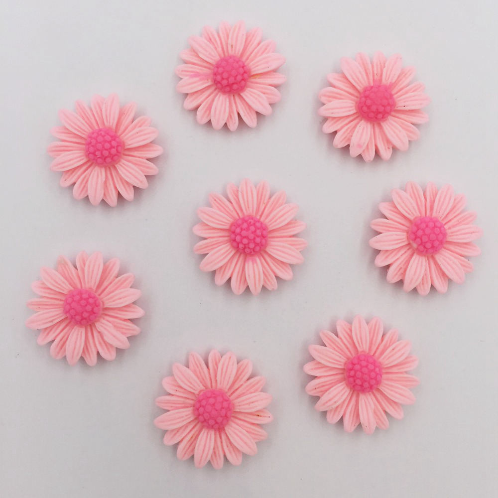 DIY 50pcs 20mm Resin Hand Painting Daisy Flatback Stone/Children Scrapbook Crafts K85*5
